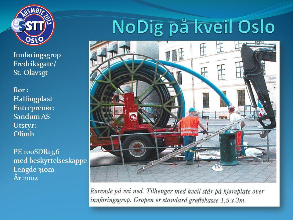 Innføringsgrop Fredriksgate/ St. Olavsgt Rør : Hallingplast Entreprenør: Sandum AS Utstyr : Olimb PE 100SDR13,6 med beskyttelseskappe Lengde 310m År 2