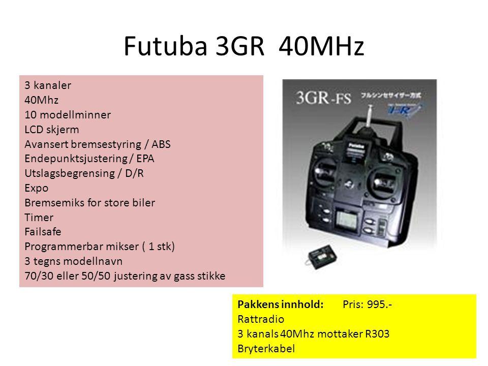 Futuba 3GR 40MHz 3 kanaler 40Mhz 10 modellminner LCD skjerm Avansert bremsestyring / ABS Endepunktsjustering / EPA Utslagsbegrensing / D/R Expo Bremse