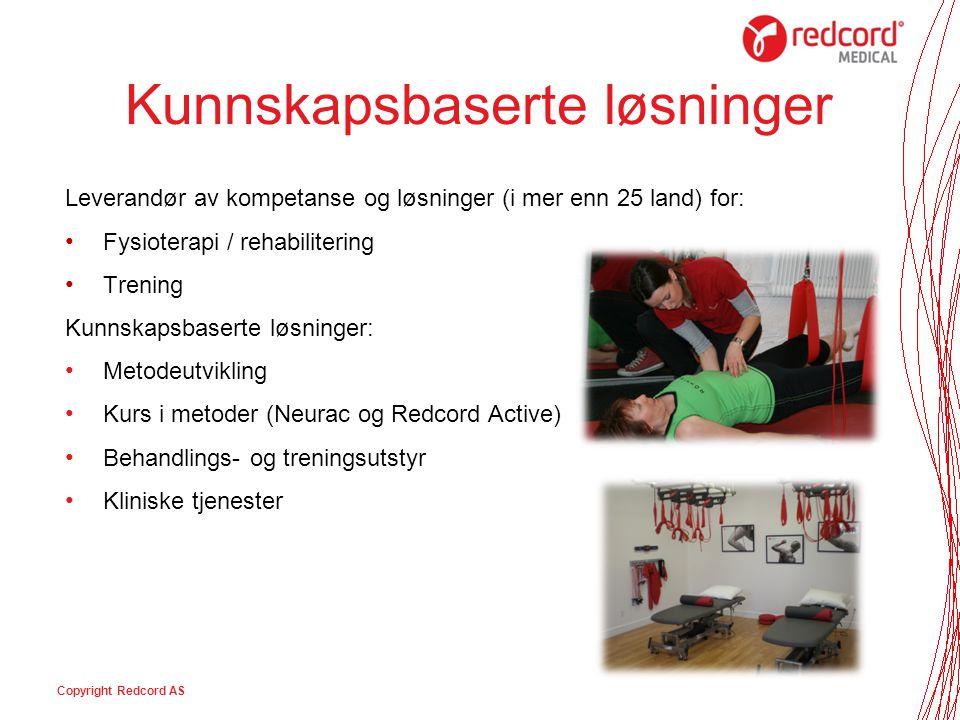 Redcord – Den Røde Tråden Copyright Redcord AS Behandling Trening i grupper Trening i hjemmet