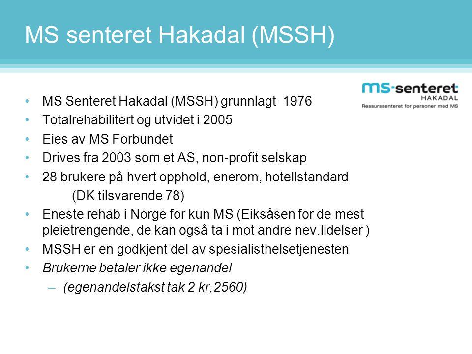 MS senteret Hakadal (MSSH) •MS Senteret Hakadal (MSSH) grunnlagt 1976 •Totalrehabilitert og utvidet i 2005 •Eies av MS Forbundet •Drives fra 2003 som