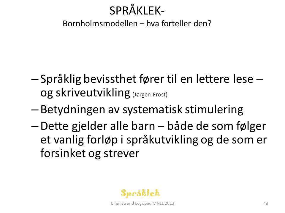 SPRÅKLEK- Bornholmsmodellen – hva forteller den? – Språklig bevissthet fører til en lettere lese – og skriveutvikling (Jørgen Frost) – Betydningen av