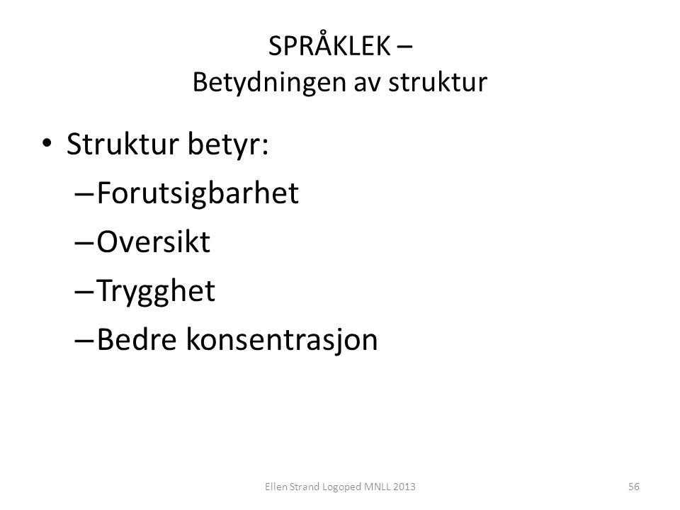 SPRÅKLEK – Betydningen av struktur • Struktur betyr: – Forutsigbarhet – Oversikt – Trygghet – Bedre konsentrasjon Ellen Strand Logoped MNLL 201356