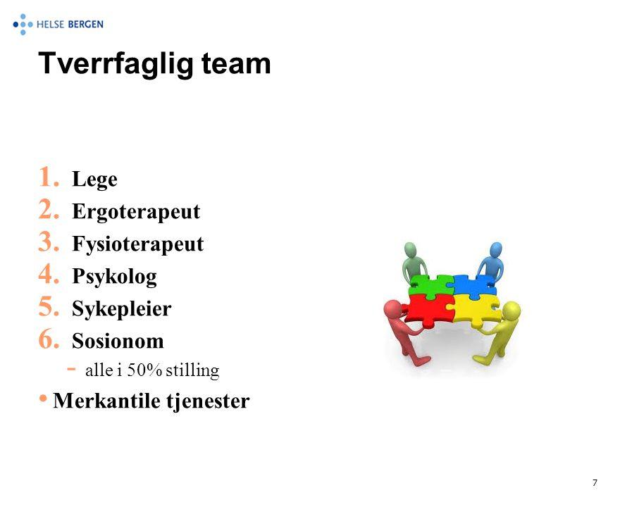 Tverrfaglig team 1. Lege 2. Ergoterapeut 3. Fysioterapeut 4. Psykolog 5. Sykepleier 6. Sosionom  alle i 50% stilling • Merkantile tjenester 7