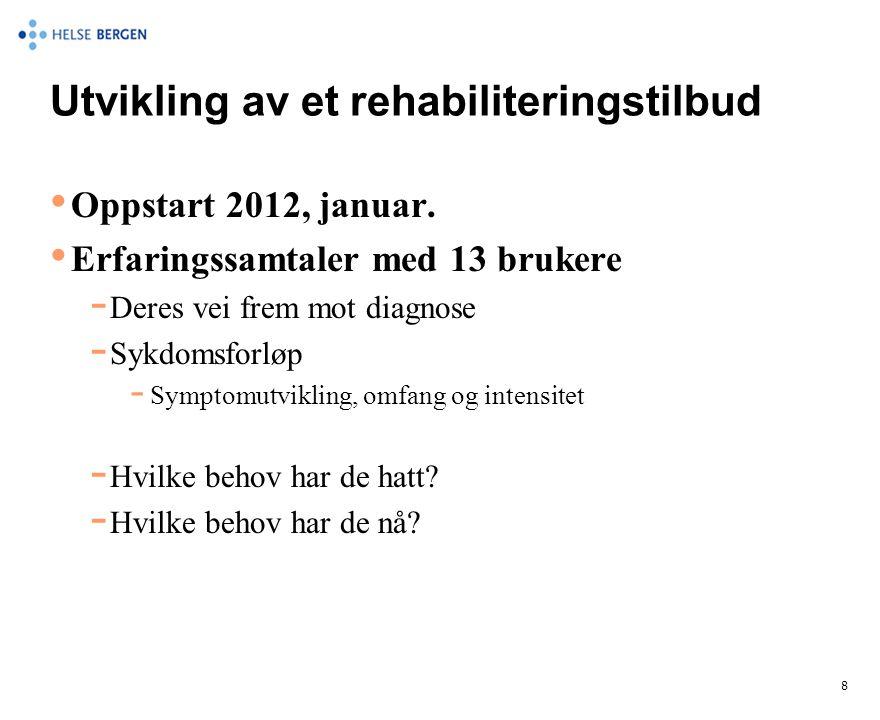 Utvikling av et rehabiliteringstilbud • Oppstart 2012, januar. • Erfaringssamtaler med 13 brukere  Deres vei frem mot diagnose  Sykdomsforløp  Symp