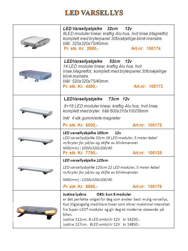 LED Varsellysbjelke 32cm 12v 8LED moduler linear, kraftig Alu hus, hvit linse,Magnetfot, komplett med bryterpanel.30forskjellige blink mønstre. Mål: 3