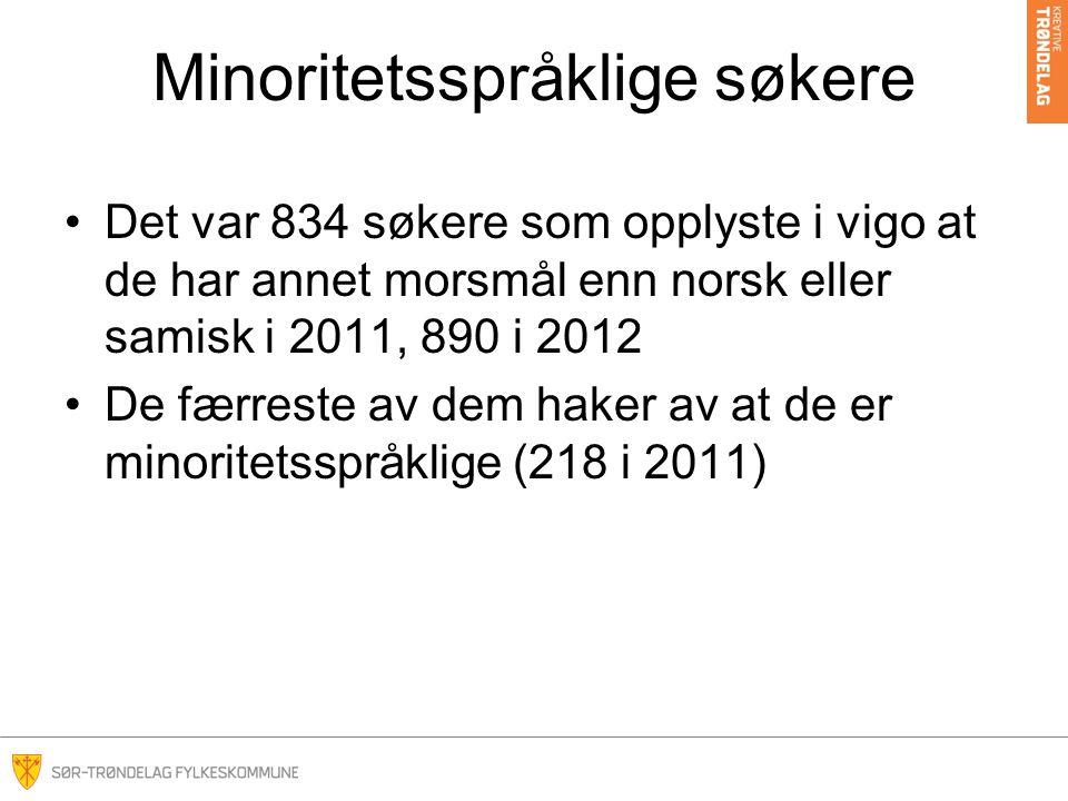 Minoritetsspråklige søkere •Det var 834 søkere som opplyste i vigo at de har annet morsmål enn norsk eller samisk i 2011, 890 i 2012 •De færreste av dem haker av at de er minoritetsspråklige (218 i 2011)