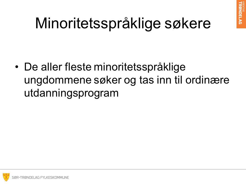 Minoritetsspråklige søkere •De aller fleste av søkerne med annet morsmål enn norsk, er som alle andre i søkeprosessen •De konkurrerer på karakterene og har nærskolepoeng
