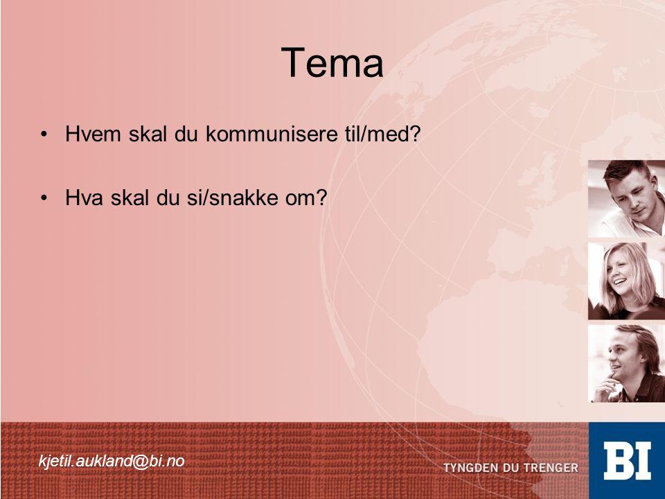 Tema •Hvem skal du kommunisere til/med? •Hva skal du si/snakke om? kjetil.aukland@bi.no