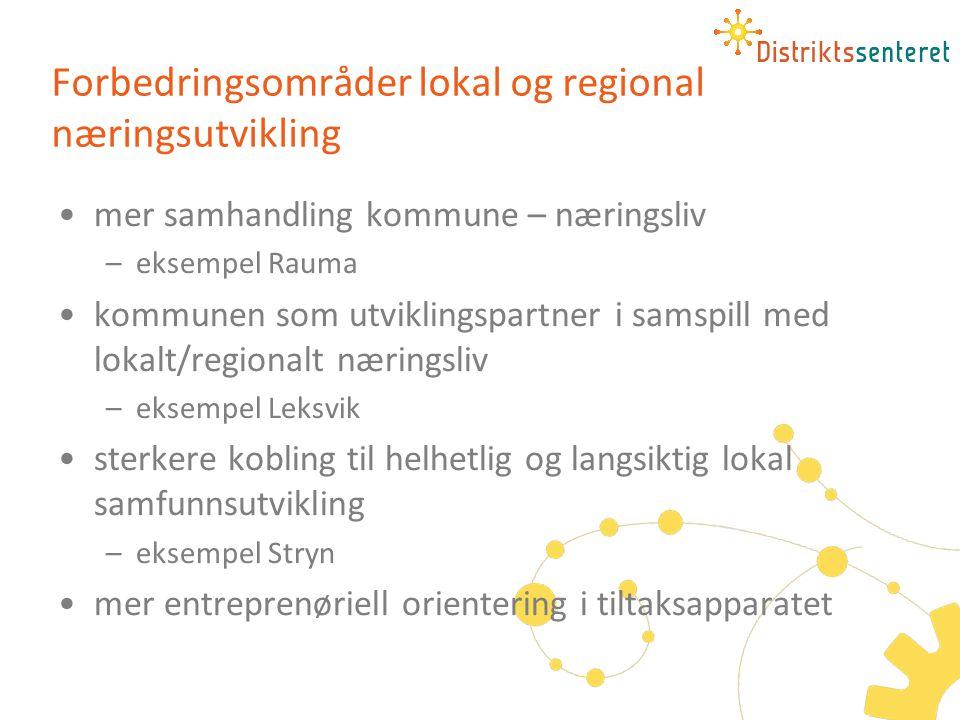 Forbedringsområder lokal og regional næringsutvikling •mer samhandling kommune – næringsliv –eksempel Rauma •kommunen som utviklingspartner i samspill