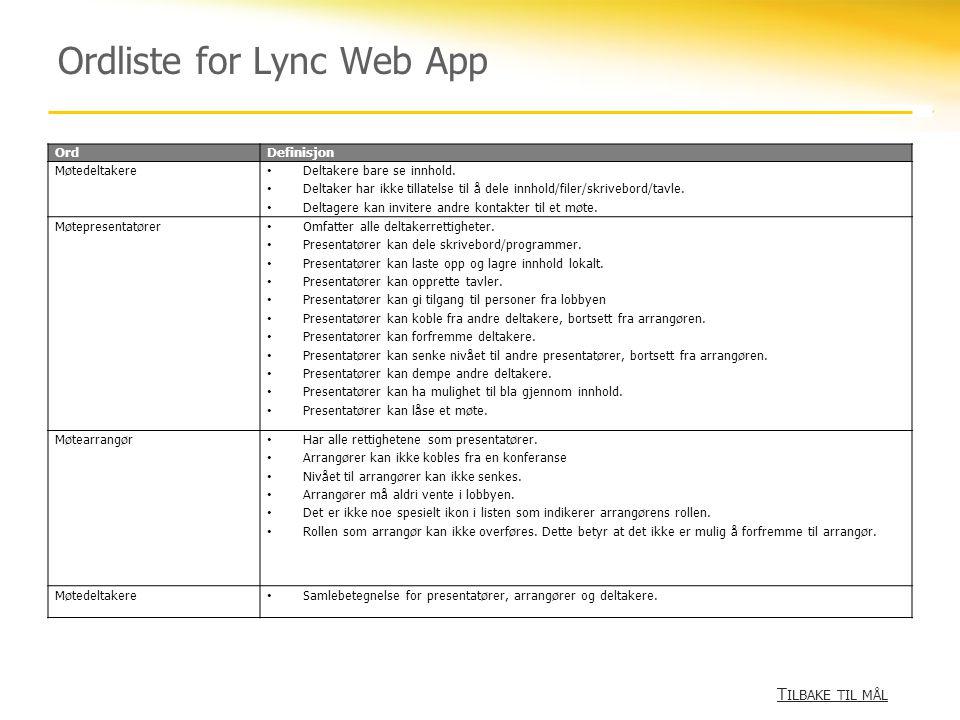 Ordliste for Lync Web App T ILBAKE TIL MÅL T ILBAKE TIL MÅL OrdDefinisjon Møtedeltakere • Deltakere bare se innhold. • Deltaker har ikke tillatelse ti