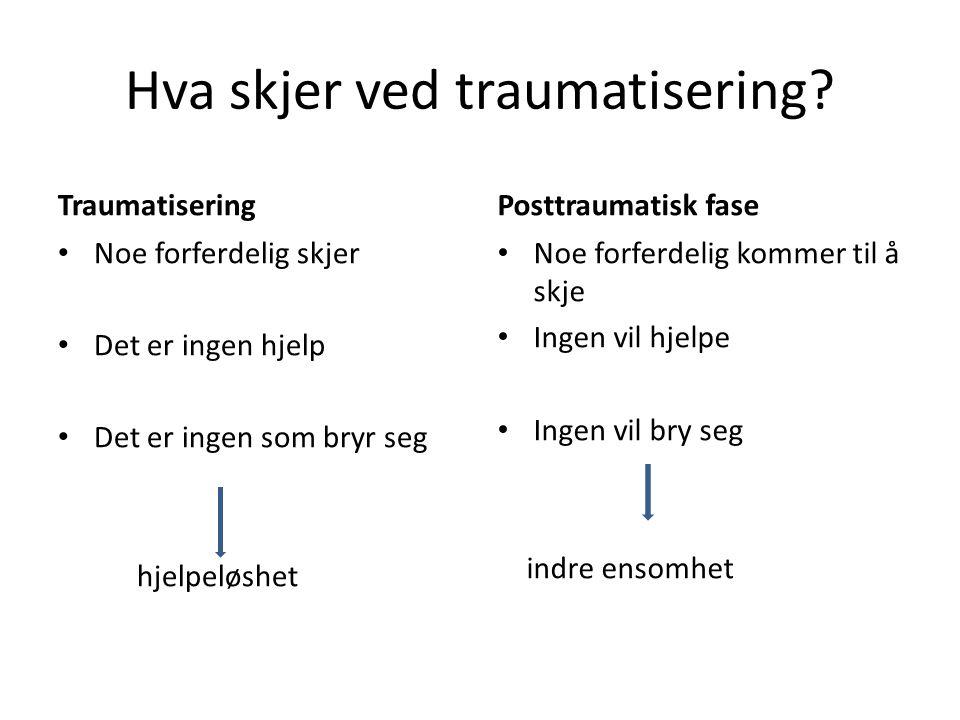 Hva skjer ved traumatisering? Traumatisering • Noe forferdelig skjer • Det er ingen hjelp • Det er ingen som bryr seg hjelpeløshet Posttraumatisk fase