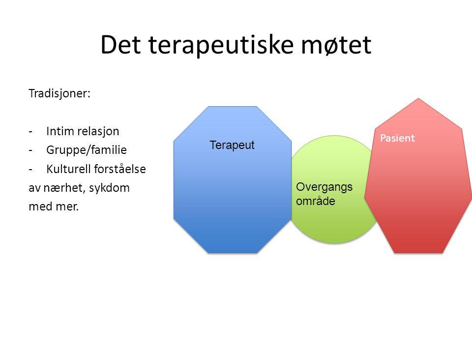 Det terapeutiske møtet Tradisjoner: -Intim relasjon -Gruppe/familie -Kulturell forståelse av nærhet, sykdom med mer. Pasient Terapeut Overgangs område