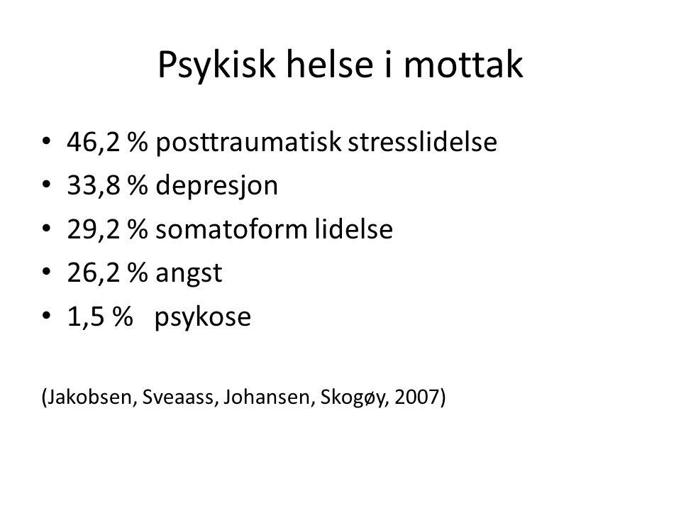 Psykisk helse i mottak • 46,2 % posttraumatisk stresslidelse • 33,8 % depresjon • 29,2 % somatoform lidelse • 26,2 % angst • 1,5 % psykose (Jakobsen, Sveaass, Johansen, Skogøy, 2007)