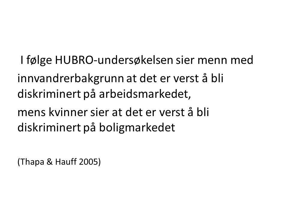 I følge HUBRO-undersøkelsen sier menn med innvandrerbakgrunn at det er verst å bli diskriminert på arbeidsmarkedet, mens kvinner sier at det er verst å bli diskriminert på boligmarkedet (Thapa & Hauff 2005)