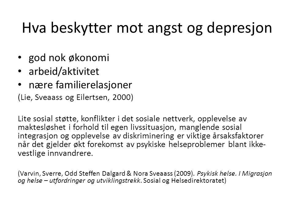 Hva beskytter mot angst og depresjon • god nok økonomi • arbeid/aktivitet • nære familierelasjoner (Lie, Sveaass og Eilertsen, 2000) Lite sosial støtt