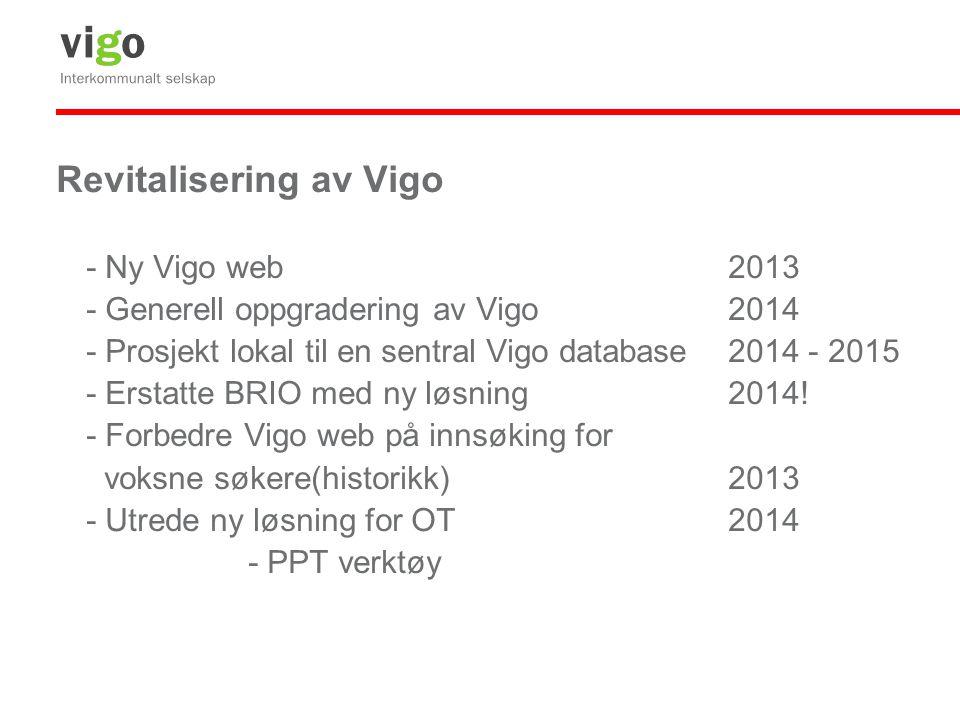 Revitalisering av Vigo - Ny Vigo web2013 - Generell oppgradering av Vigo2014 - Prosjekt lokal til en sentral Vigo database2014 - 2015 - Erstatte BRIO