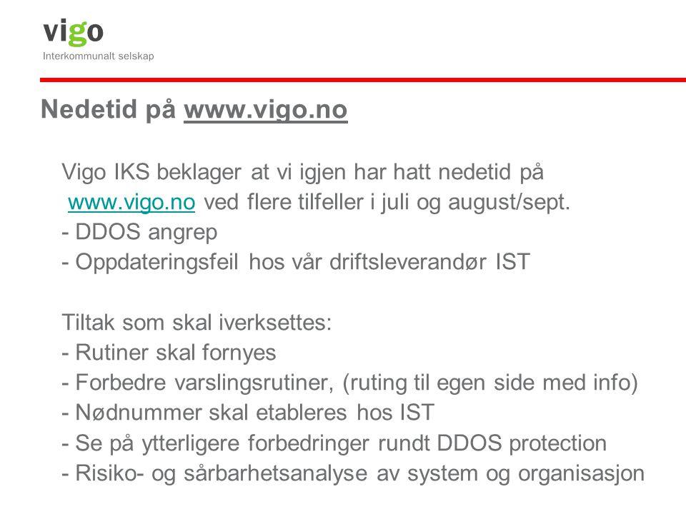 Nedetid på www.vigo.no Vigo IKS beklager at vi igjen har hatt nedetid på www.vigo.no ved flere tilfeller i juli og august/sept.www.vigo.no - DDOS angr
