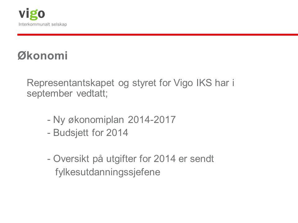 Økonomi Representantskapet og styret for Vigo IKS har i september vedtatt; - Ny økonomiplan 2014-2017 - Budsjett for 2014 - Oversikt på utgifter for 2