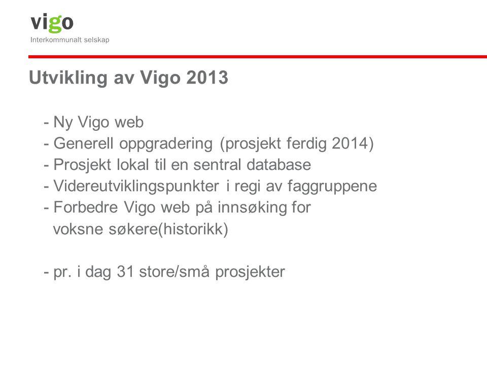 Utvikling av Vigo 2013 - Ny Vigo web - Generell oppgradering (prosjekt ferdig 2014) - Prosjekt lokal til en sentral database - Videreutviklingspunkter