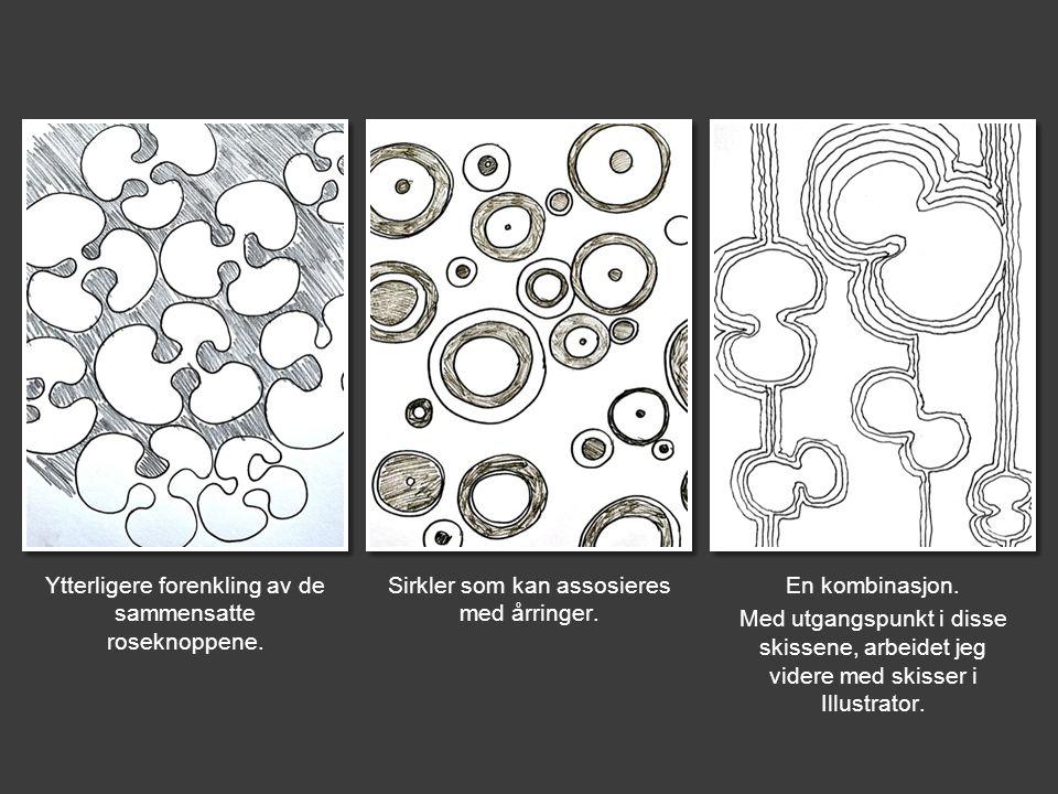 Ytterligere forenkling av de sammensatte roseknoppene. Sirkler som kan assosieres med årringer. En kombinasjon. Med utgangspunkt i disse skissene, arb