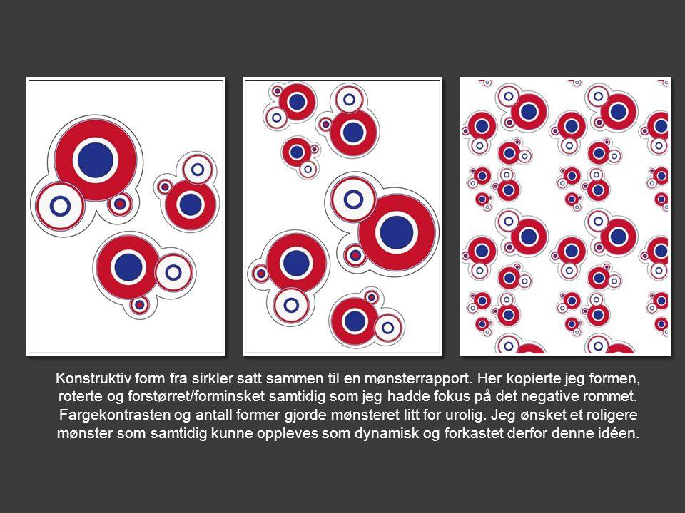 Konstruktiv form fra sirkler satt sammen til en mønsterrapport. Her kopierte jeg formen, roterte og forstørret/forminsket samtidig som jeg hadde fokus