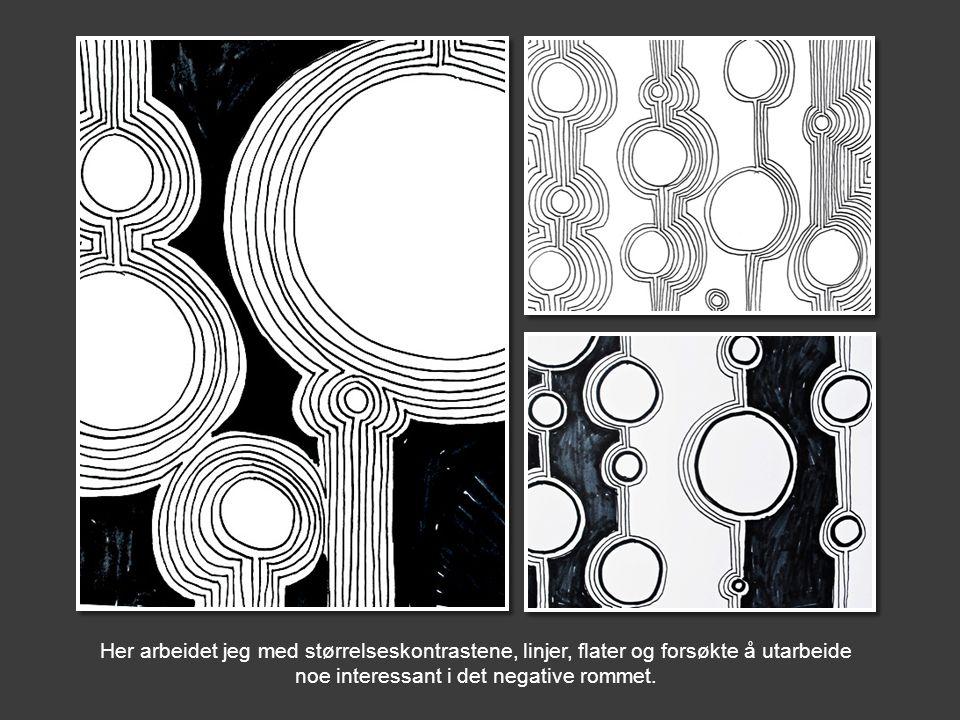Her arbeidet jeg med størrelseskontrastene, linjer, flater og forsøkte å utarbeide noe interessant i det negative rommet.