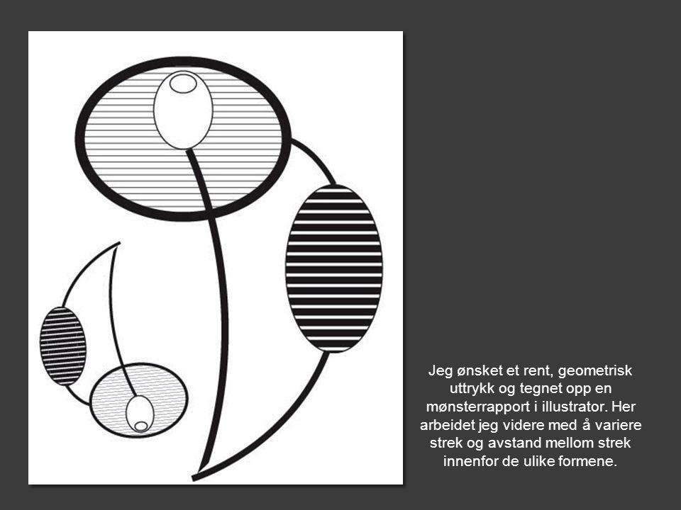Jeg ønsket et rent, geometrisk uttrykk og tegnet opp en mønsterrapport i illustrator. Her arbeidet jeg videre med å variere strek og avstand mellom st