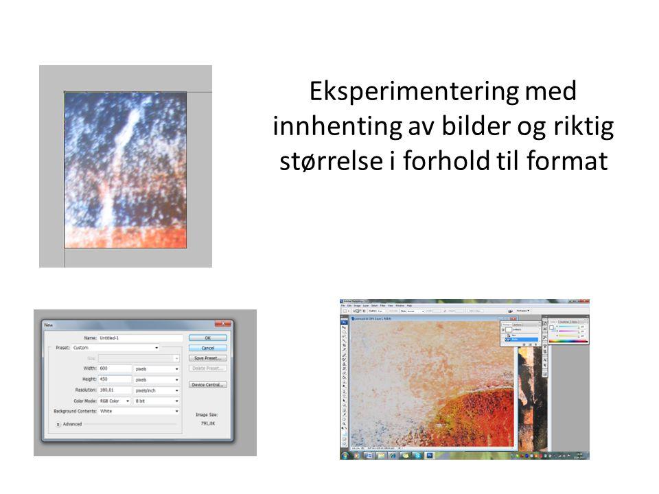Eksperimentering med innhenting av bilder og riktig størrelse i forhold til format