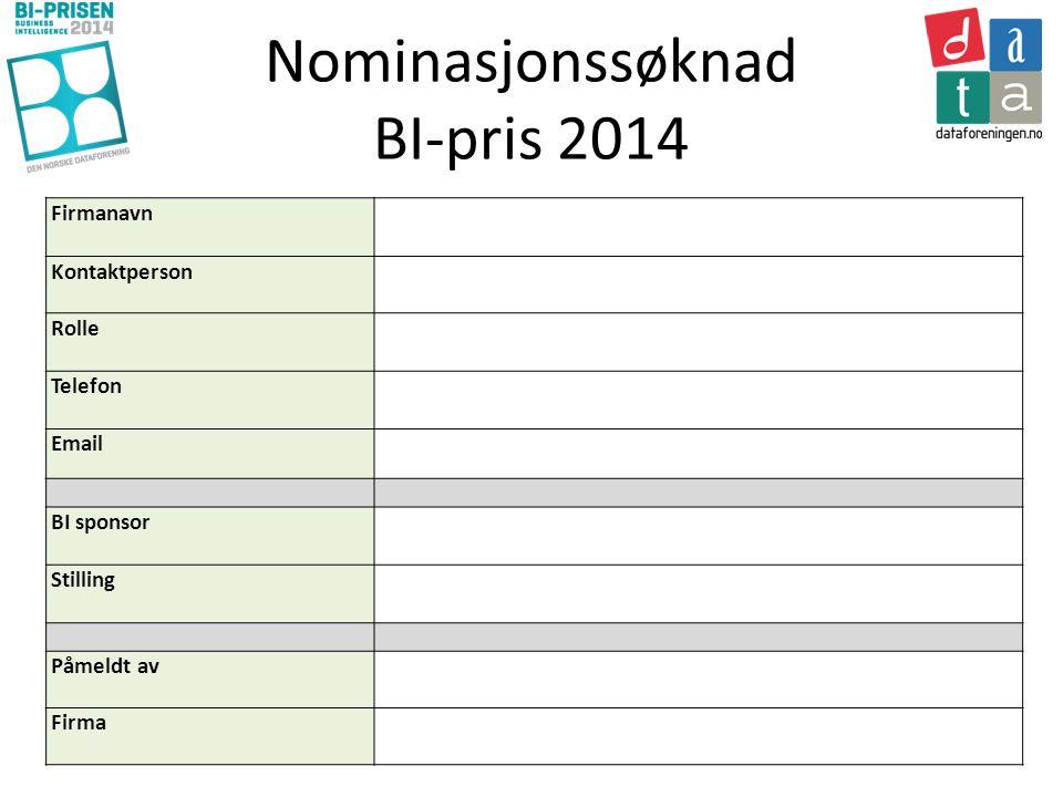 Nominasjonssøknad BI-pris 2014 Firmanavn Kontaktperson Rolle Telefon Email BI sponsor Stilling Påmeldt av Firma