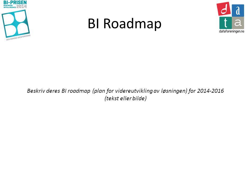 BI Roadmap Beskriv deres BI roadmap (plan for videreutvikling av løsningen) for 2014-2016 (tekst eller bilde)