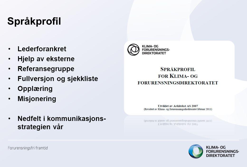Språkprofil •Lederforankret •Hjelp av eksterne •Referansegruppe •Fullversjon og sjekkliste •Opplæring •Misjonering •Nedfelt i kommunikasjons- strategi