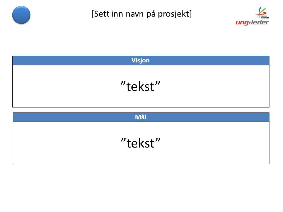 [Sett inn navn på prosjekt] Visjon tekst Mål tekst