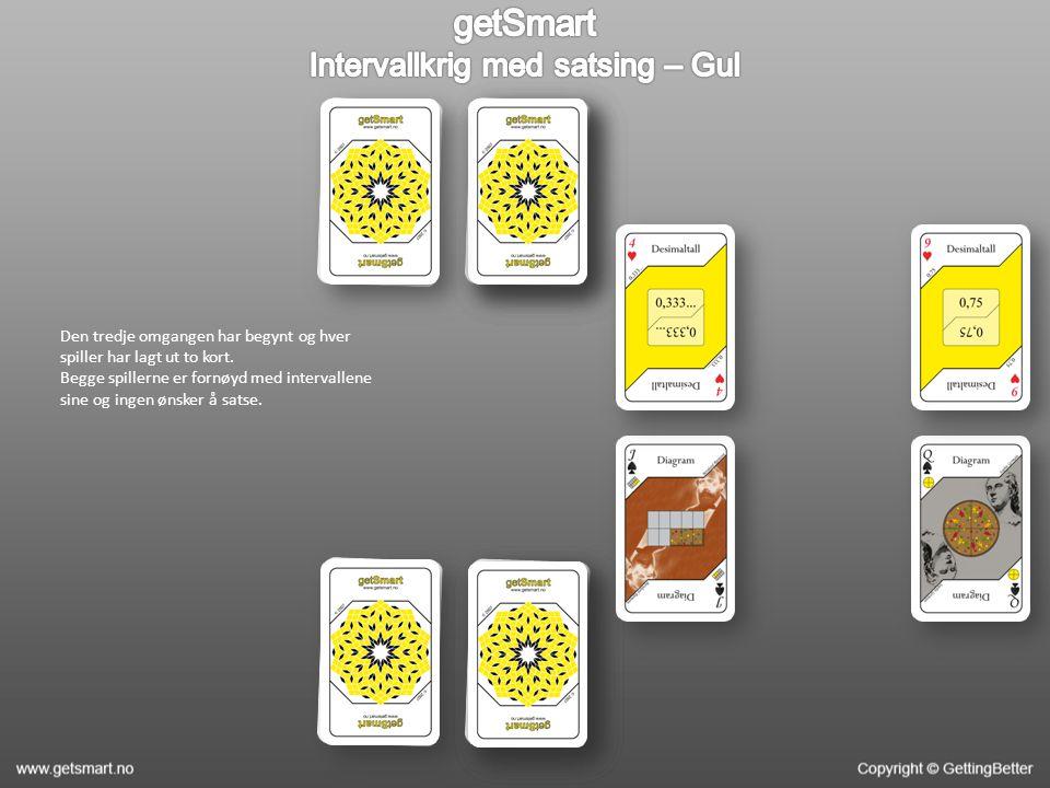 Den tredje omgangen har begynt og hver spiller har lagt ut to kort. Begge spillerne er fornøyd med intervallene sine og ingen ønsker å satse.