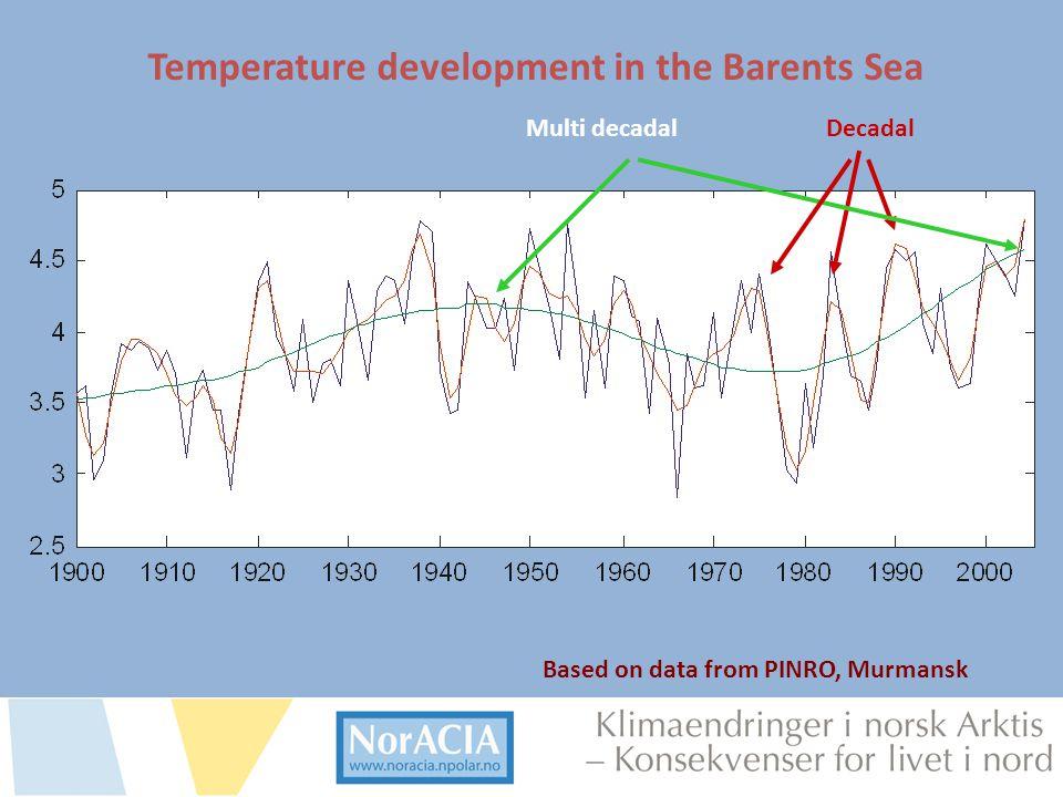 limaendringer i norsk Arktis – Knsekvenser for livet i nord Based on data from PINRO, Murmansk DecadalMulti decadal Temperature development in the Bar
