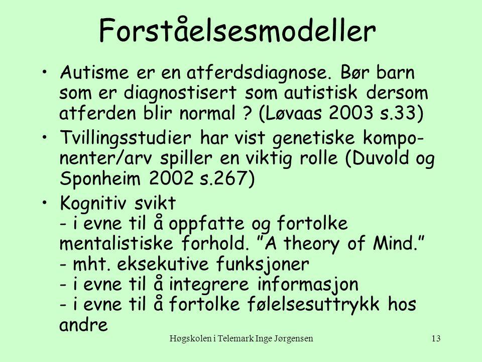 Høgskolen i Telemark Inge Jørgensen13 Forståelsesmodeller •Autisme er en atferdsdiagnose. Bør barn som er diagnostisert som autistisk dersom atferden