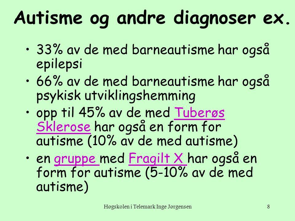 Høgskolen i Telemark Inge Jørgensen9 Årsaker •Ingen har lykkes med å finne en nærmere forklaring på funksjonssvikten ved autisme •Tvillingsstudier tyder på en hjerneorganisk svikt, ev.