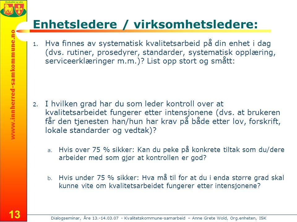 www.innherred-samkommune.no Dialogseminar, Åre 13.-14.03.07 - Kvalitetskommune-samarbeid – Anne Grete Wold, Org.enheten, ISK 13 Enhetsledere / virksomhetsledere: 1.