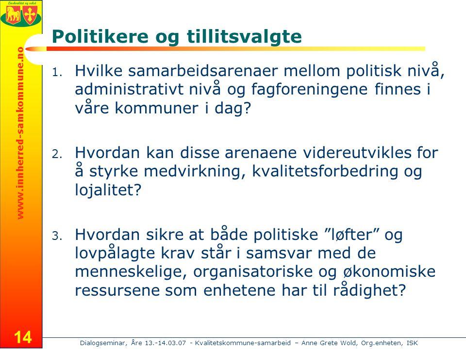 www.innherred-samkommune.no Dialogseminar, Åre 13.-14.03.07 - Kvalitetskommune-samarbeid – Anne Grete Wold, Org.enheten, ISK 14 Politikere og tillitsvalgte 1.