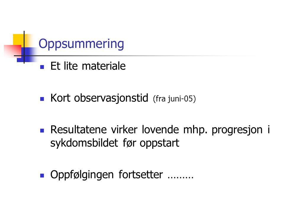 Oppsummering  Et lite materiale  Kort observasjonstid (fra juni-05)  Resultatene virker lovende mhp.