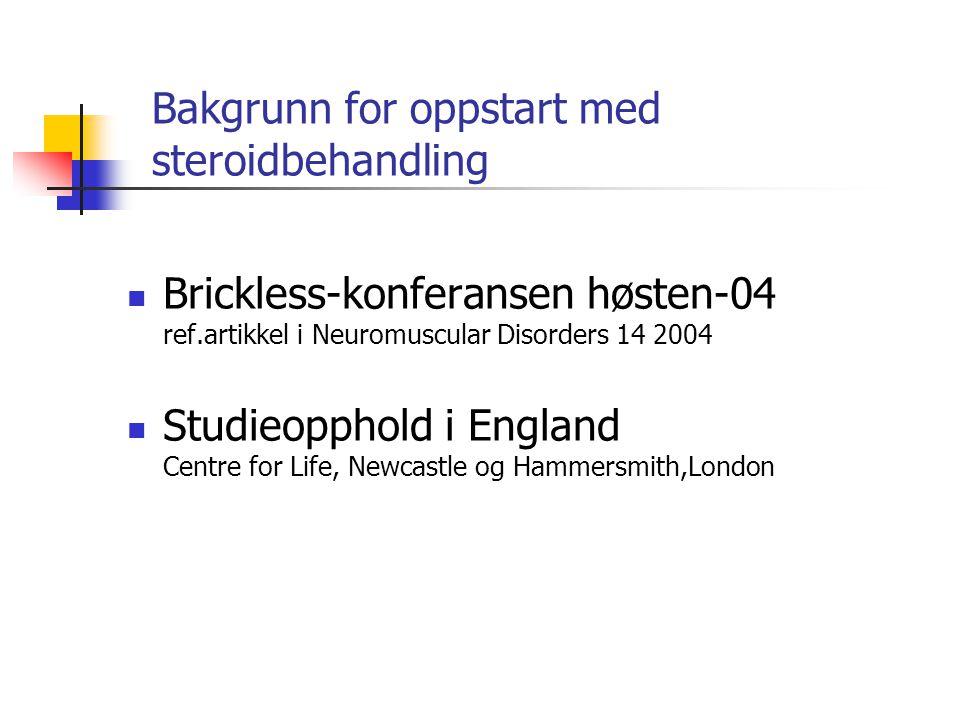 Bakgrunn for oppstart med steroidbehandling  Brickless-konferansen høsten-04 ref.artikkel i Neuromuscular Disorders 14 2004  Studieopphold i England Centre for Life, Newcastle og Hammersmith,London