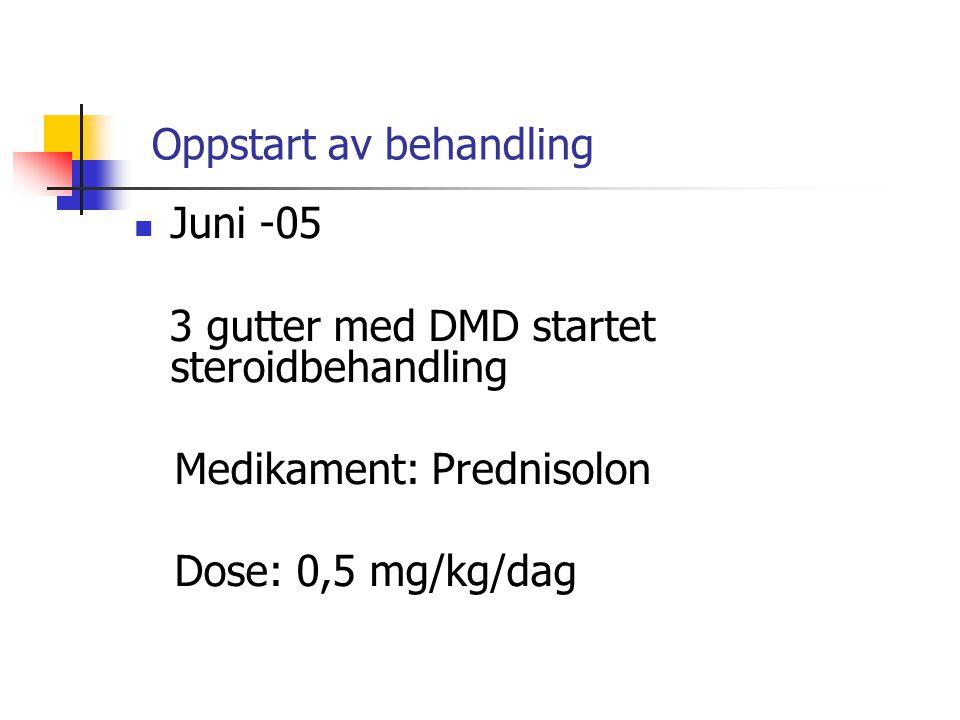 Oppstart av behandling  Juni -05 3 gutter med DMD startet steroidbehandling Medikament: Prednisolon Dose: 0,5 mg/kg/dag