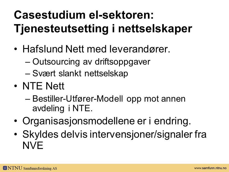 Casestudium el-sektoren: Tjenesteutsetting i nettselskaper •Hafslund Nett med leverandører. –Outsourcing av driftsoppgaver –Svært slankt nettselskap •