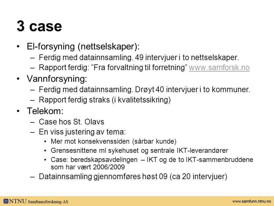 """3 case •El-forsyning (nettselskaper): –Ferdig med datainnsamling. 49 intervjuer i to nettselskaper. –Rapport ferdig: """"Fra forvaltning til forretning"""""""