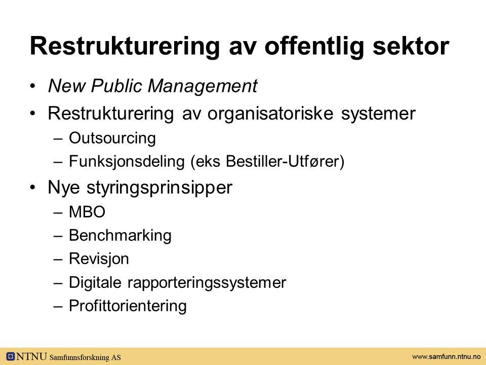 Restrukturering av offentlig sektor •New Public Management •Restrukturering av organisatoriske systemer –Outsourcing –Funksjonsdeling (eks Bestiller-Utfører) •Nye styringsprinsipper –MBO –Benchmarking –Revisjon –Digitale rapporteringssystemer –Profittorientering