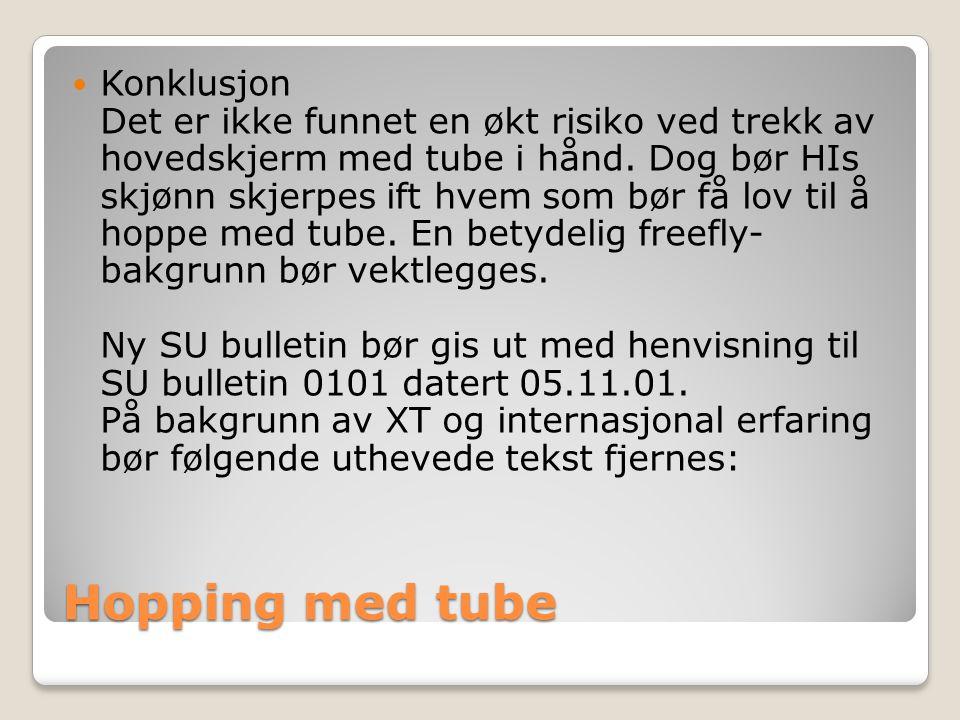 Hopping med tube  Konklusjon Det er ikke funnet en økt risiko ved trekk av hovedskjerm med tube i hånd.