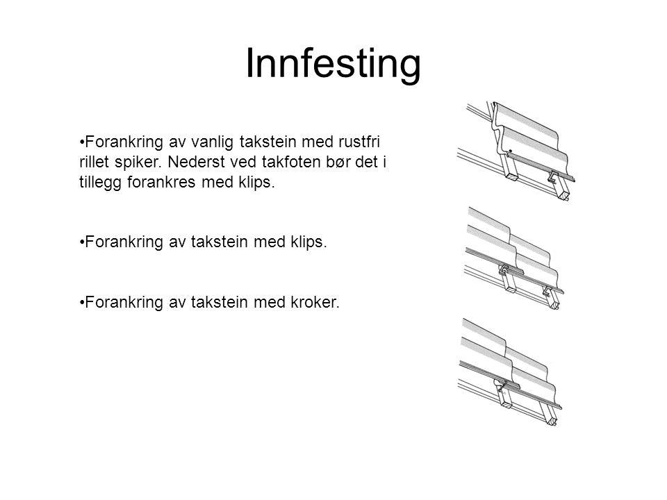 Innfesting •Forankring av vanlig takstein med rustfri rillet spiker. Nederst ved takfoten bør det i tillegg forankres med klips. •Forankring av takste