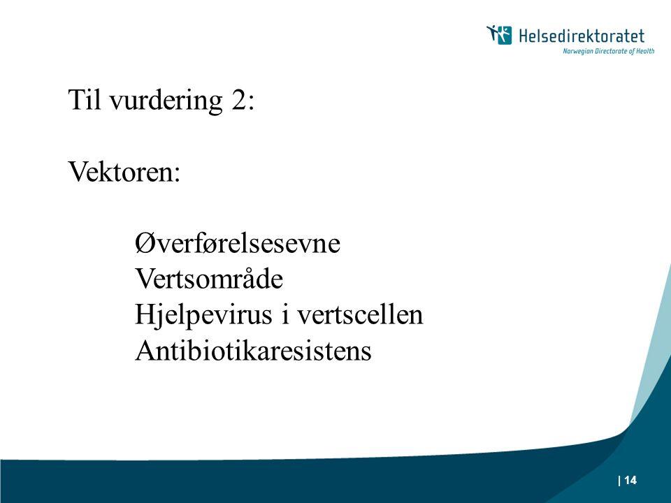 | 14 Til vurdering 2: Vektoren: Øverførelsesevne Vertsområde Hjelpevirus i vertscellen Antibiotikaresistens