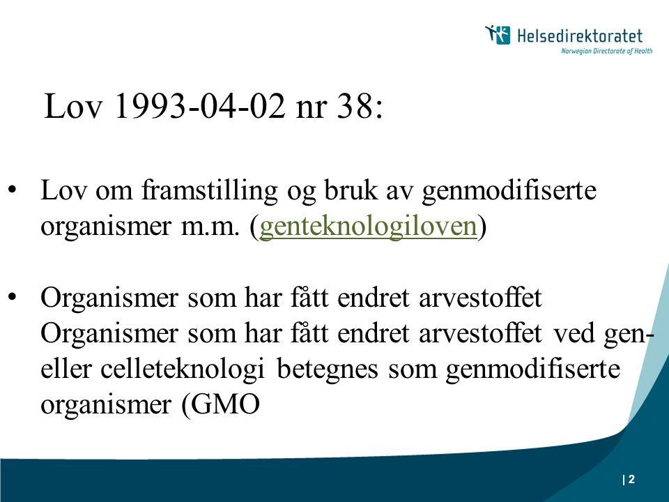 | 2 Lov 1993-04-02 nr 38: • Lov om framstilling og bruk av genmodifiserte organismer m.m. (genteknologiloven)genteknologiloven • Organismer som har få