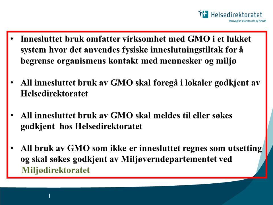 | • Innesluttet bruk omfatter virksomhet med GMO i et lukket system hvor det anvendes fysiske inneslutningstiltak for å begrense organismens kontakt m