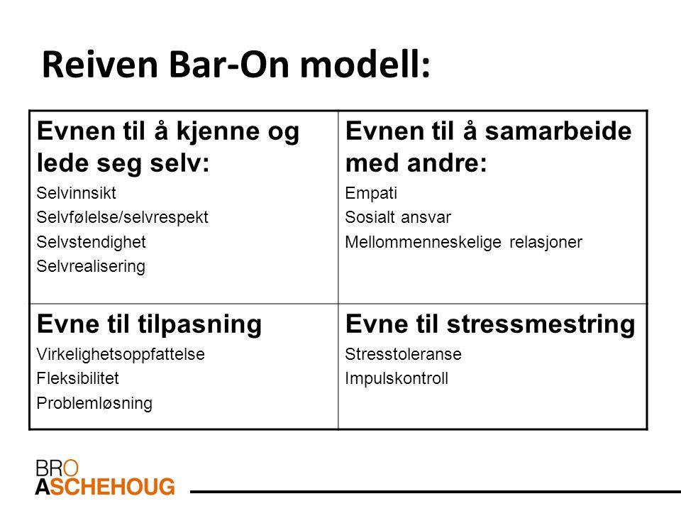 Reiven Bar-On modell: Evnen til å kjenne og lede seg selv: Selvinnsikt Selvfølelse/selvrespekt Selvstendighet Selvrealisering Evnen til å samarbeide m
